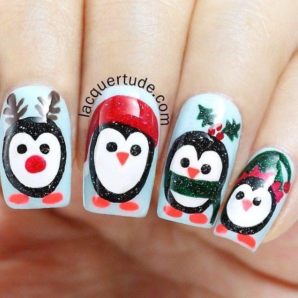 Penguin Christmas Nail Art Design