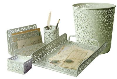 Metal lace desk accessories by Victorian Trading Co. Beautiful and on sale. $29.99  (Nov 2012)