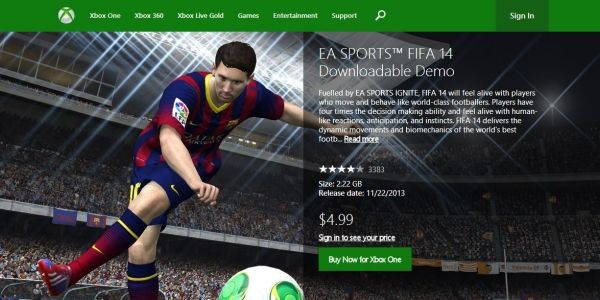 FIFA 14 UFC paid Xbox One demos a system error says EA rep -  Xbox One users sensed an apocalypse when they found the system's online store charging $5/4 for demos of EA games FIFA 14 and EA Sports UFC this morning. However,