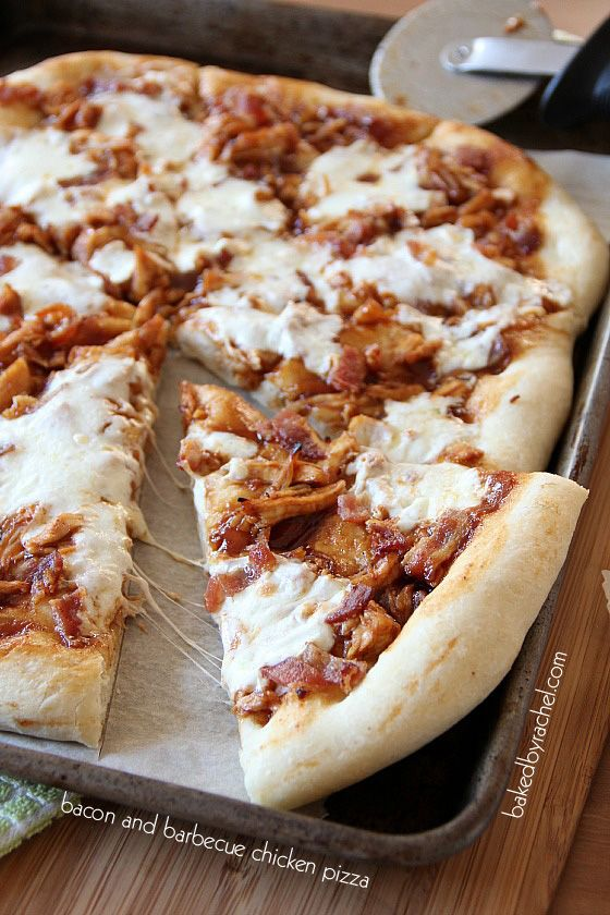Bacon and Barbecue Chicken Pizza Recipe from bakedbyrachel.com