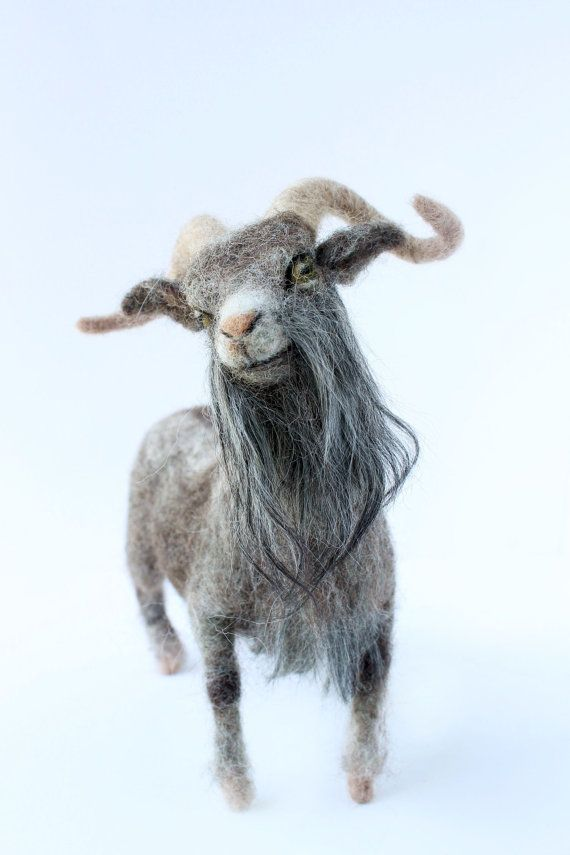 Needle Felted Billy Goat, Felted Goat, Goat Sculpture