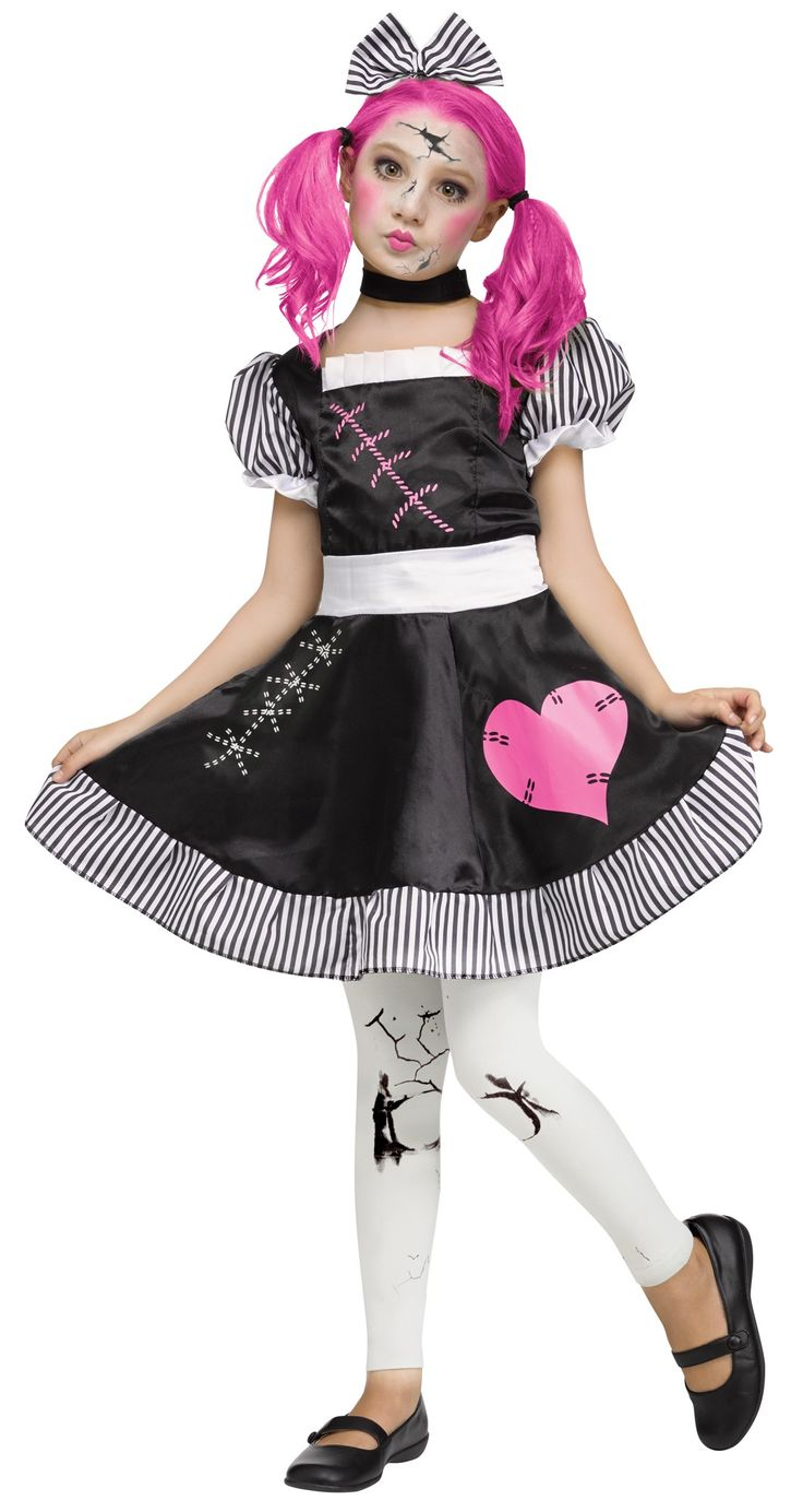 Broken Doll Teen Girls Costume Includes: Dress, choker, hair bow, and footless tights. Wig and makeup not included. #Doll #Costume