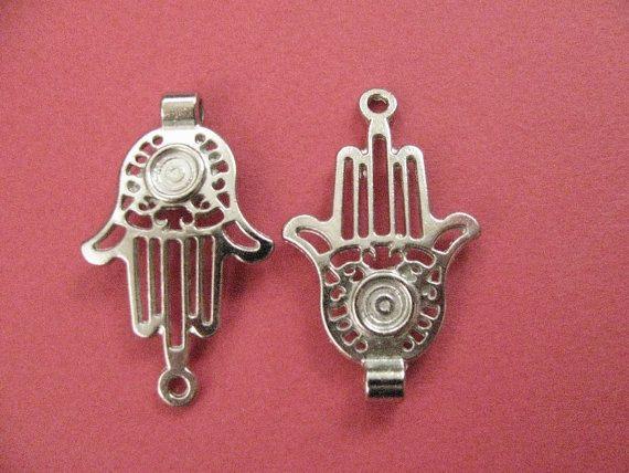 43mm #Hand of #Fatima #Charm Silver Tone by Turkeysupply http://etsy.me/1E5zdIE #etsy #jewelry #brass #gem #drop #disc #charm #jewelonpet