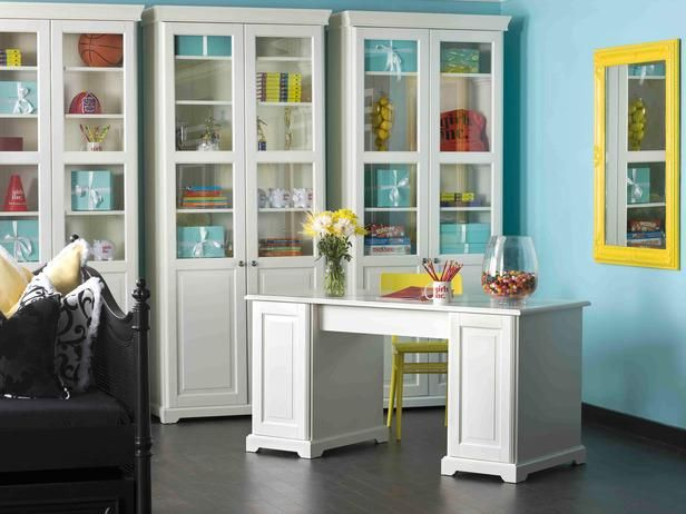 Love this design? Make it yours. Our best room looks are now shoppable...just browse and click to buy --> http://hg.tv/u1px: Cabinets, Ideas, Crafts Rooms, Color Combos, Bold Color, Desks, Glasses Doors, Neon Color, Home Offices