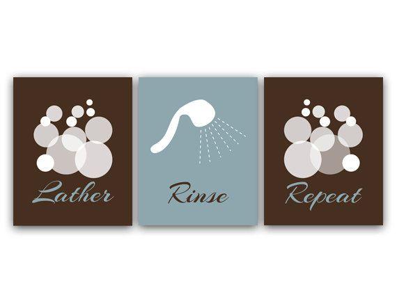Bathroom Wall Art, Lather Rinse Repeat, Slate U0026 Brown Bathroom Decor,  Modern Bathroom Art, Set Of 3 Bath Art Prints