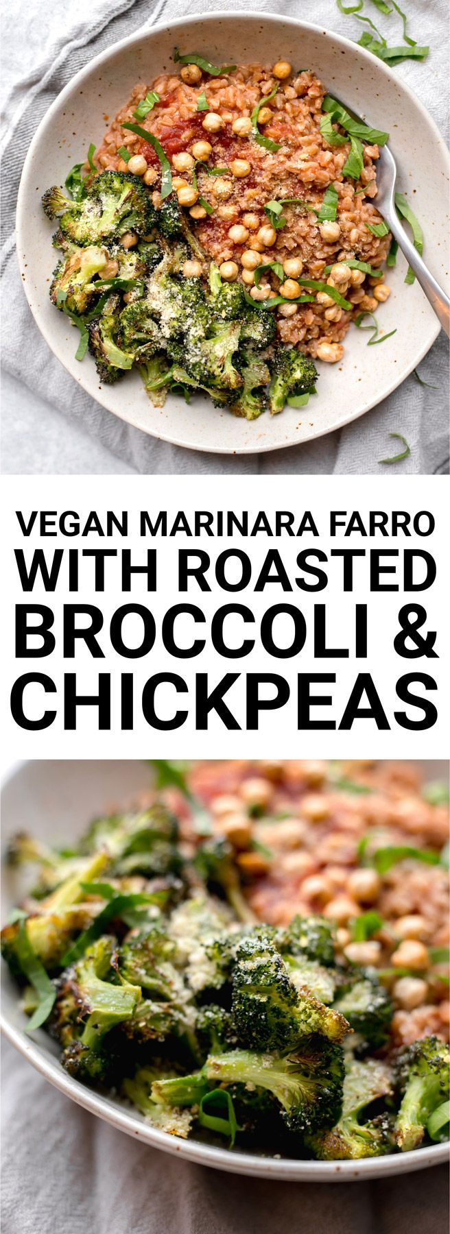 For a simple and comforting plant-based meal, make this 30 minute Vegan Marinara Farro with Roasted Broccoli and Chickpeas  // fooduzzi.com