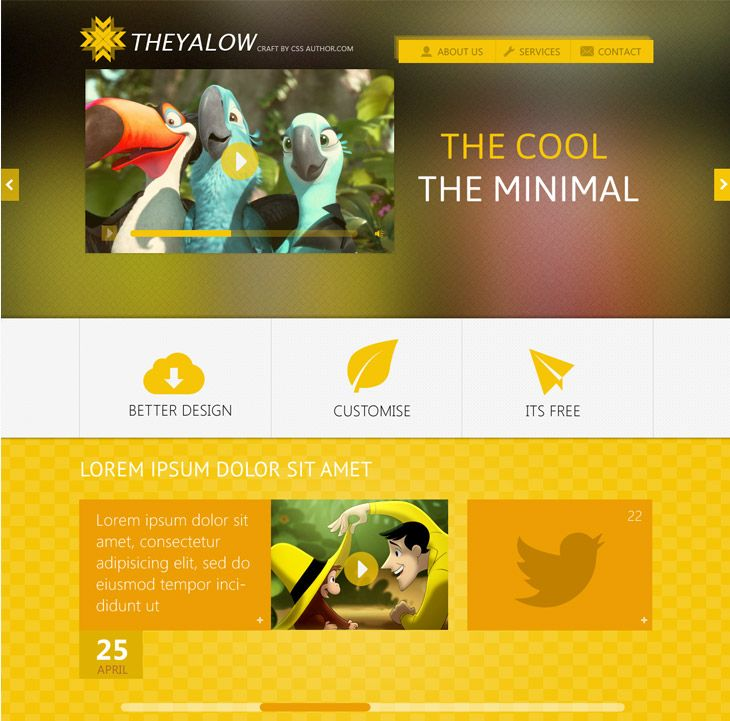 TheYalow - High quality website design, called THEYALOW. It's a responsive design with a mobile version of the template.
