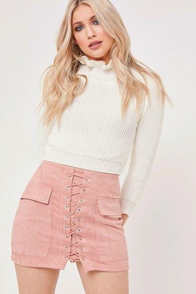 Miranda Nude Suede Lace Up Mini Skirt