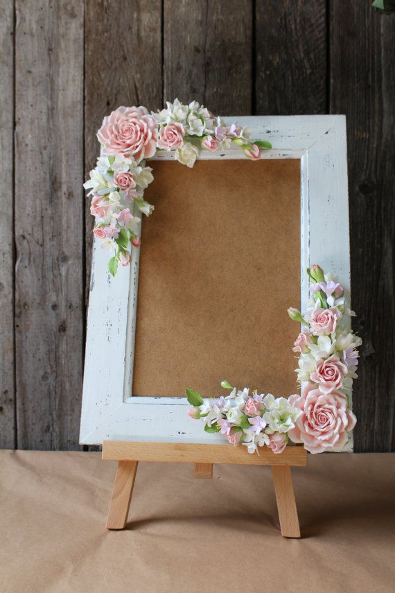 Frame for wedding photo All flowers made from polymer clay ClayCraft by Deco. All flowers are handmade from air dry polymer clay ClayCraft by