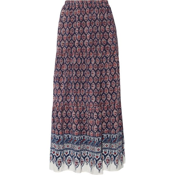 Joie - Gurita B Printed Silk-voile Maxi Skirt (560 PEN) ❤ liked on Polyvore featuring skirts, blue, long skirts, purple skirt, multi color maxi skirt, silk maxi skirt and maxi skirt