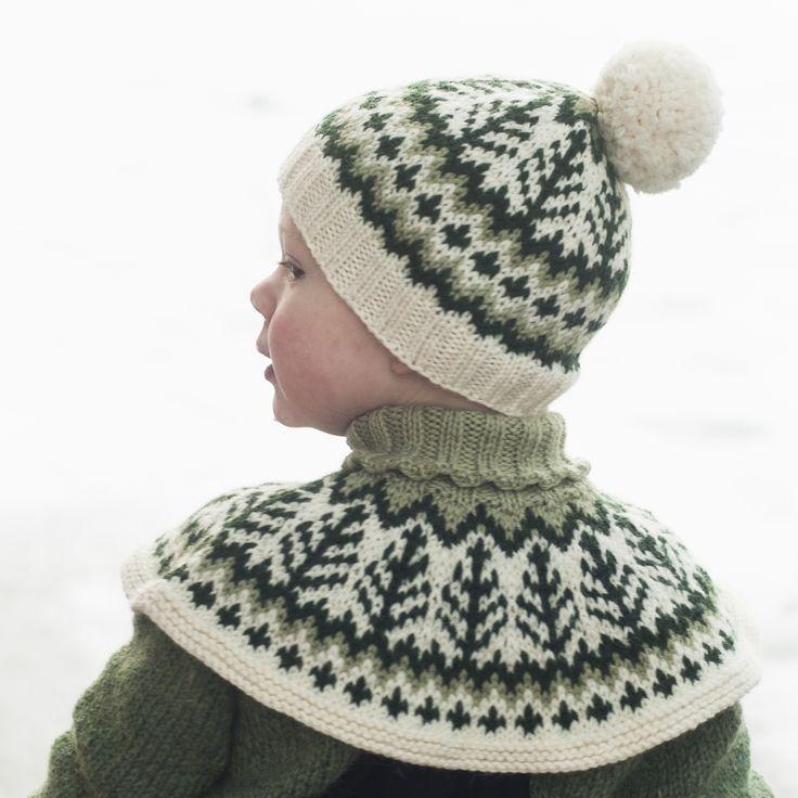Emblalue  Lue i vakkert vintermønster som strikkes ovenfra og ned.