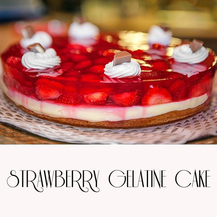Strawberry gelatine cake