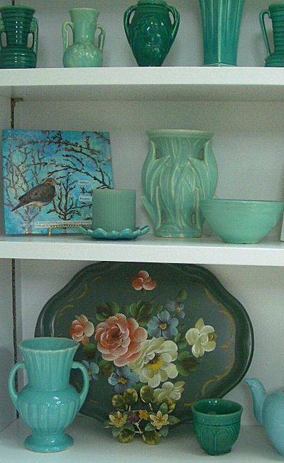 Beautiful teal green McCoy pottery - this could have literally been photographed in my family room!