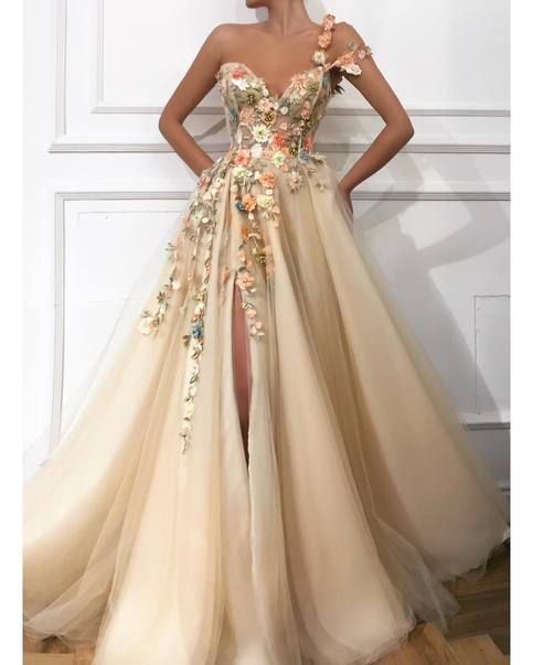 Romantic Flowers Slit Prom Dresses Champagne Bead A-line Evening Gowns
