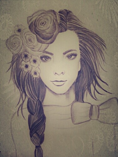 Girl pencil drawing