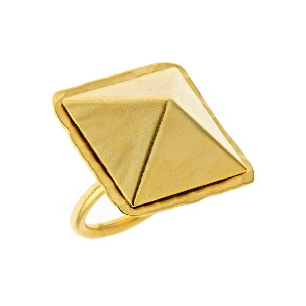Bita Pourtavoosi Pyramid Ring in Yellow Gold (€49) ❤ liked on Polyvore featuring jewelry, rings, accessories, fashion jewelryrings, 24 karat gold ring, gold jewelry, 24k gold jewelry, gold ring and 24k gold jewellery