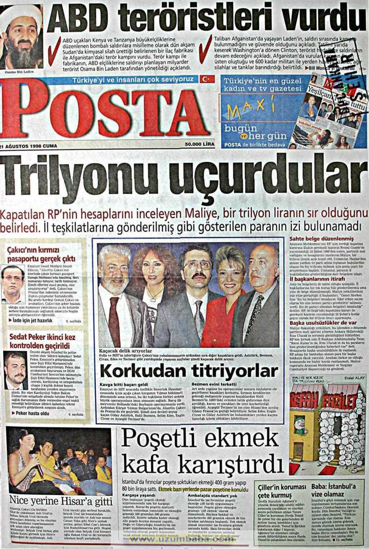 Posta gazetesi 21 ağustos 1998