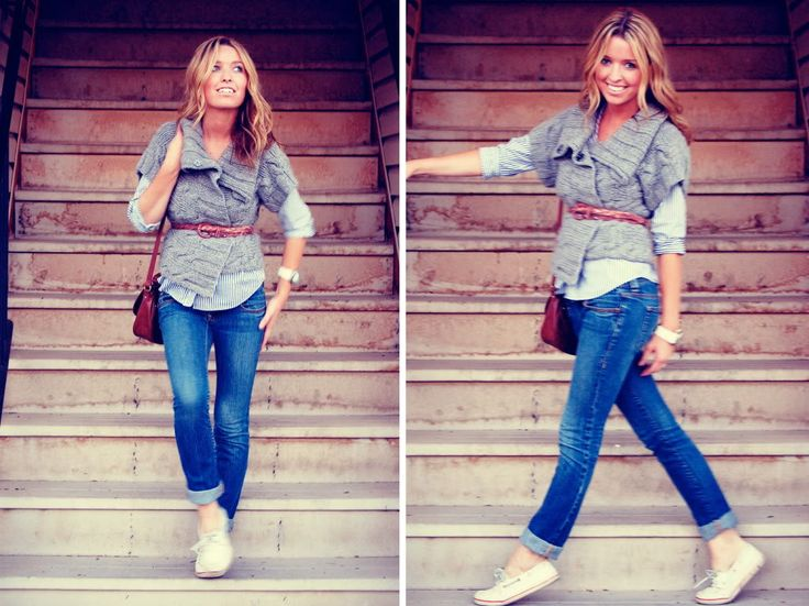 love this look!: White Shoes, Belts Sweaters, Chunky Sweaters, Gray Sweaters, Brown Belts, Rolled Up Jeans, Jeans And Sneakers, Jeans And Flats, Girls Style