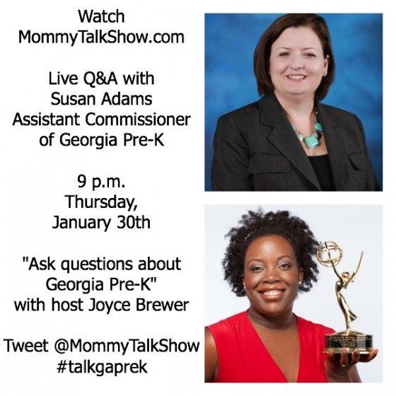 Live Webcast: Ask Questions about Georgia Pre-K #talkgaprek Thursday 1/30 at 9p ~ MommyTalkShow.com