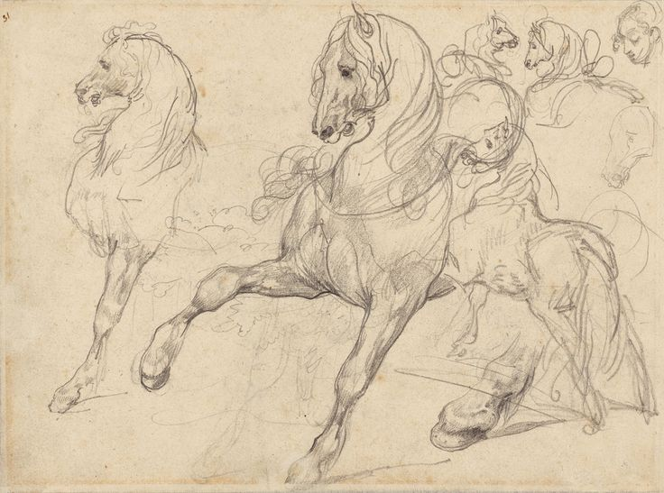Horses and Riders (recto); Horses (verso); Théodore Géricault (French, 1791 - 1824); France; 1813 - 1814; Graphite; 21 × 27.9 cm (8 1/4 × 11 in.); 88.GD.46; J. Paul Getty Museum, Los Angeles, California