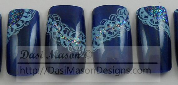 Teal Lace Instant Acrylic Nail Set by dasimason on Etsy
