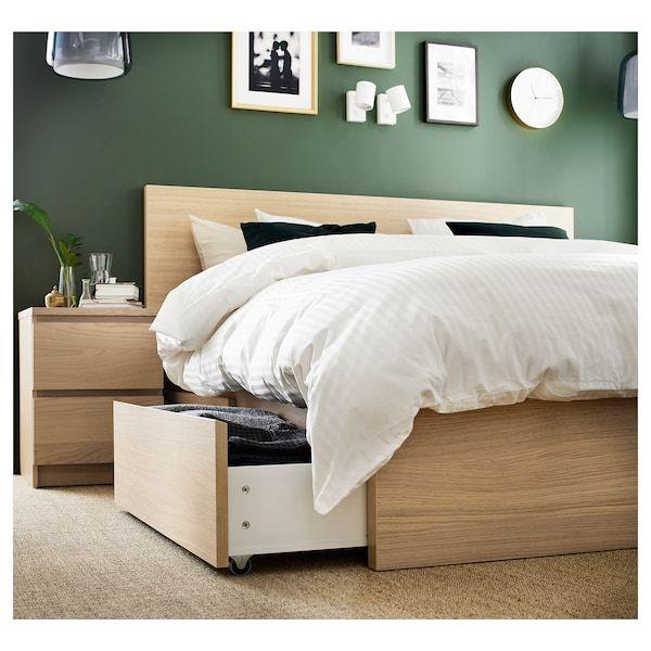 Malm Bettgestell Hoch Mit 4 Schubladen Eichenfurnier Weiss Lasiert Leirsund Ikea Osterreich High Bed Frame Malm Bed Frame Adjustable Beds