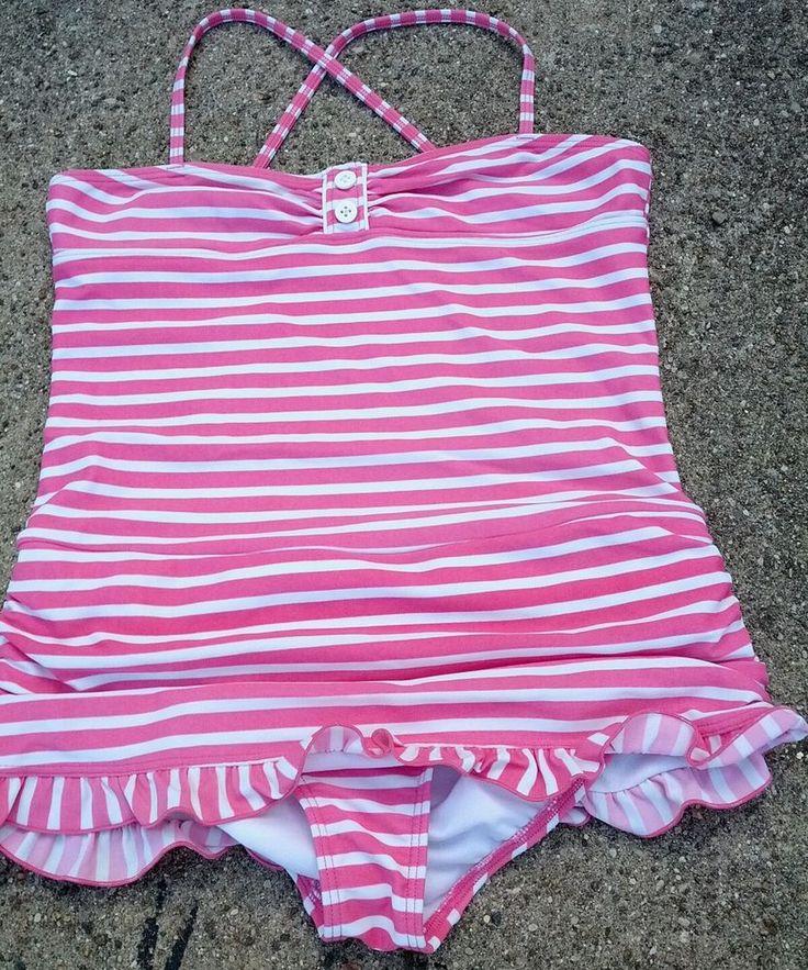 12 LANDS' END Kids Girls 1 pc Swimsuit Pink White Stripes ruffles skirt ruched  #LandsEndDesignerSwimwear #Swimsuit