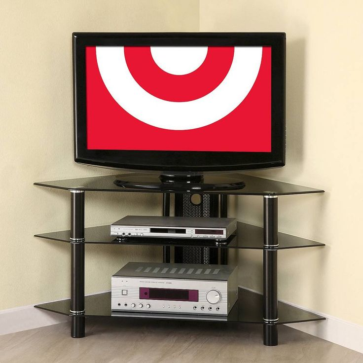 Silver Glass Corner TV Media Stand