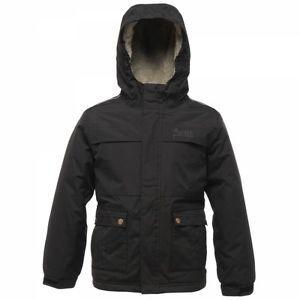 Regatta BOYS Black Waterproof Jacket AGE 3 to 16 MUDSLIDE Fleece Lined Coat