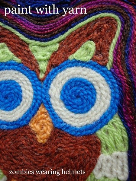 """Yarn art - draw simple picture first, then """"color in"""" with yarn, following curves of each shape."""