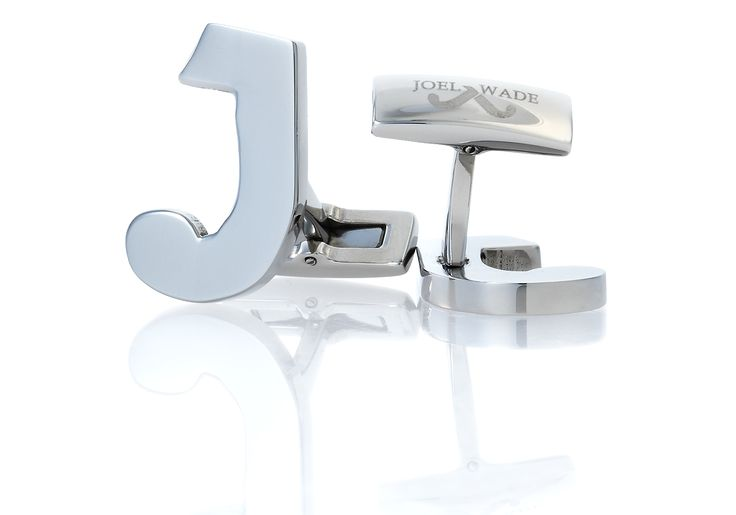 """'Symbol' Cufflinks by Joel Wade. Crafted in rhodium plated stainless steel to form the """"J"""" from the Joel Wade logo."""