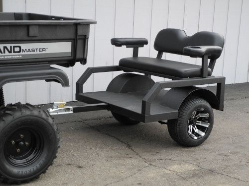 Designed for off-road duty behind golf carts, ATVs, and UTVs, these small tram trailers haul two passengers in comfort (the seats even include…