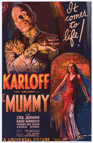 A great poster from the classic Golden Age of Hollywood horror movie The Mummy starring Boris Karloff! Ships fast. 11x17 inches. Need Poster Mounts..?