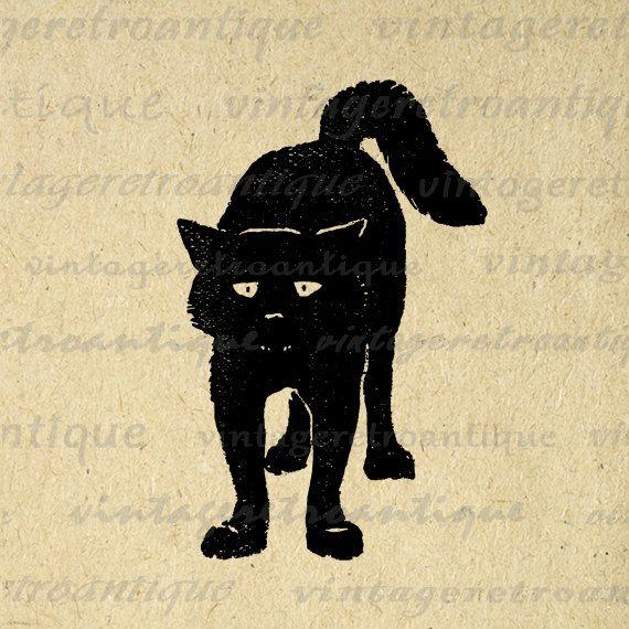 Digital Graphic Black Cat Download Kitten by VintageRetroAntique, $3.50