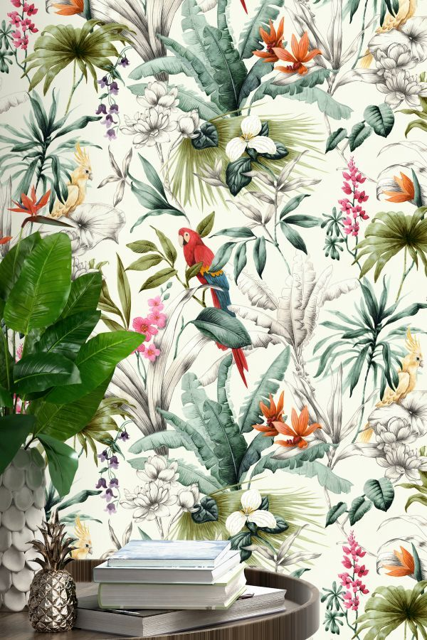 Multi Coloured Tropical Jungle Floral Wallpaper
