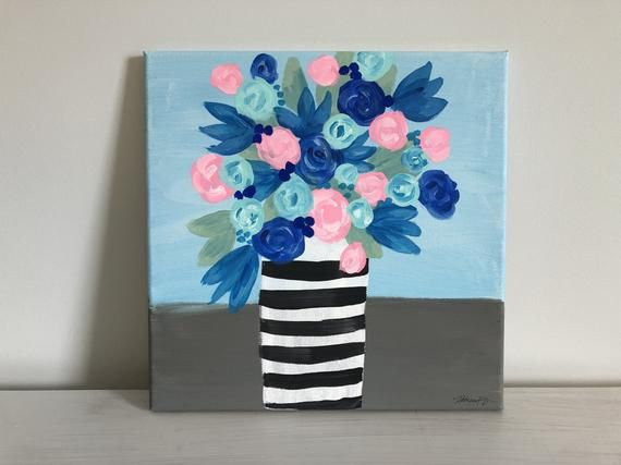 Original 11x14in Acrylic Fine Art On Canvas Striped Vase Of