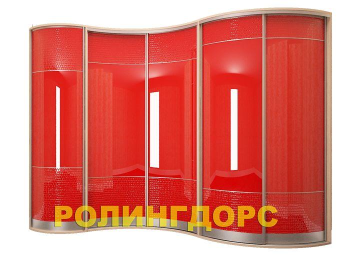Радиусный шкаф-купе красная кожа с акрилом