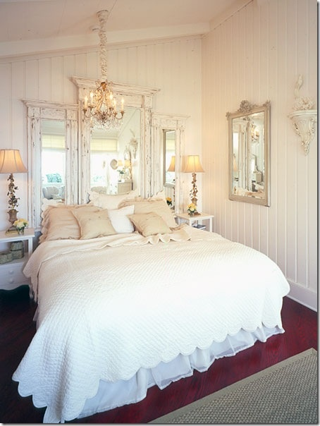 Mirrors behind the bed for boutique wall...so beautiful