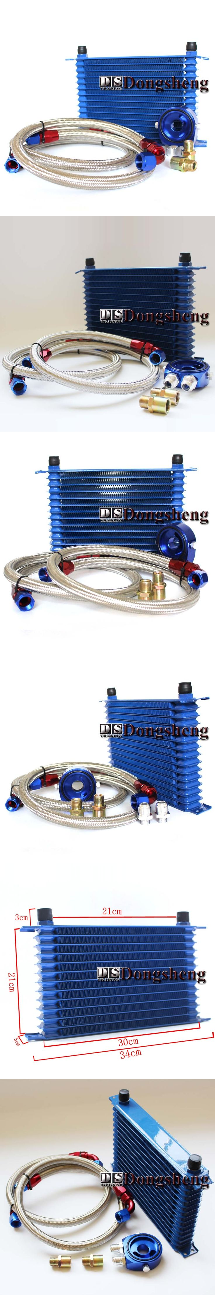 UNIVERSAL 15 ROWS OIL COOLER+OIL FILTER SANDWICH ADAPTER BLUE + SS NYLON STAINLESS STEEL BRAIDED AN10 HOSE