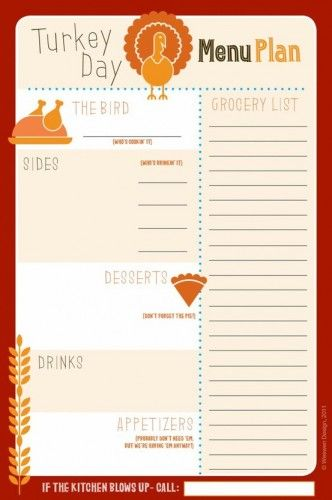 Thanksgiving Menu plan Printable  Exactly what I've been looking for.  Praise God for Pinterest. -M