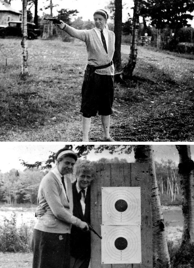 La primera Dama Eleanor Roosevelt disparando en Chazy Lake, Nueva York, 1934. A continuación, comprueba su puntería con su amiga Nancy.