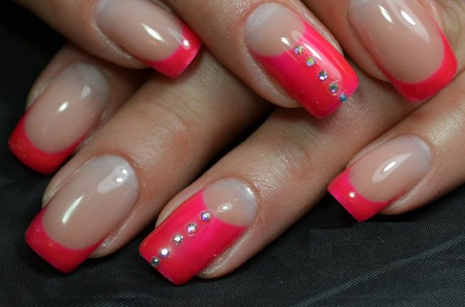 French 2016, French with rhinestones, Modern nails, Nails fashionable trends 2016, Nails with rhinestones ideas, Original french, Red french, Two-colored french