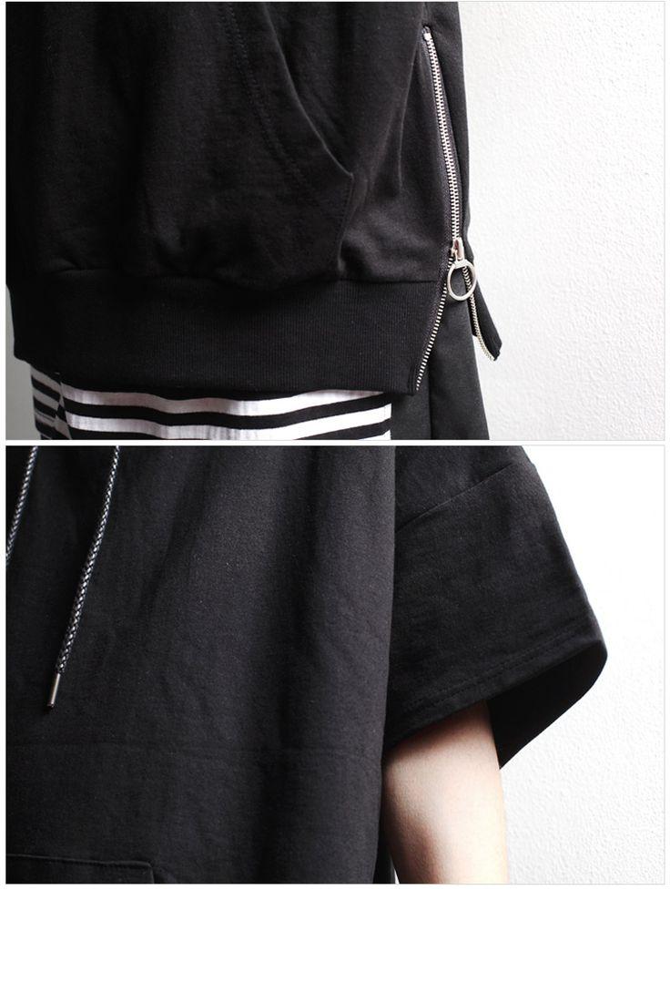 モード系/メンズファッション/ビジュアル系 minsobi/ミンソビ 。【2017年新作】 サイドジッパー 半袖 プルオーバー パーカ メンズ 黒 フード Tシャツ メンズ モード系 メンズ プルオーバーパーカ メンズファッション 夏服 夏物 パーカー サイドジッパー ブラック ゆるトップス フードTシャツ 夏物 パーカー ミンソビ 【code-minsobi】