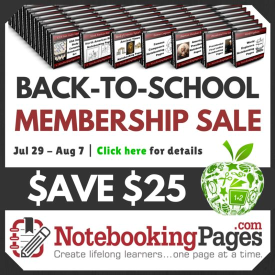 Save $25 on Lifetime Memberships at the NotebookingPages.com Back to School Sale; sale ends Aug. 7th.