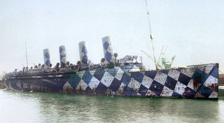 RMS Mauretania during WW I. The boat is painted, as many were in both world wars, in Dazzle or Razzle Dazzle camoflague. The idea was to disorient attacking U-boats, the paint job supposedly making it hard to determine the target vessel's type and course.