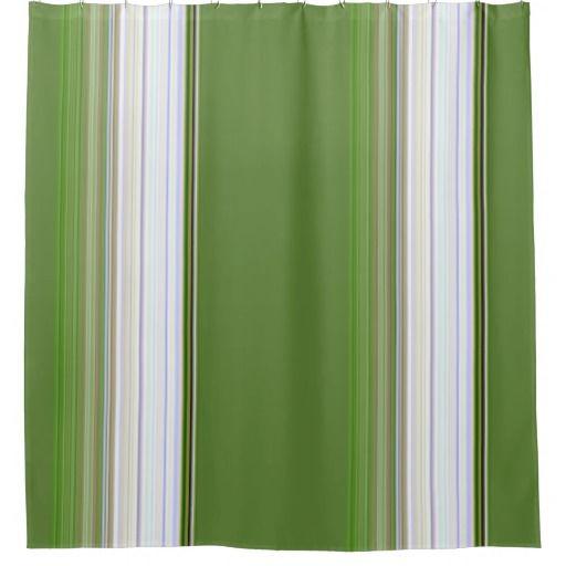 White Stripe on Green Shower Curtain