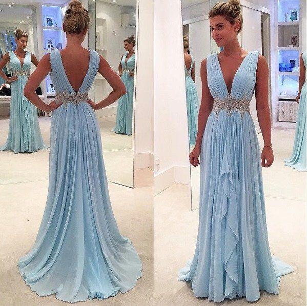 Deep V-Neck Long A-line Light Blue Chiffon Beaded Belt Simple Prom Bridesmaid Dresses, PD0278