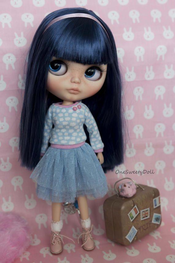 Bluebell modré vlasy RBL Blythe z výroby na zakázku podle OneSweetyDoll