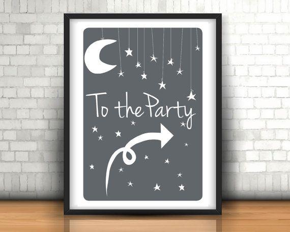 Moon and Stars, Birthday Poster, Birthday Print, Party Decor, Room Decor, Moon Poster, Star Poster, Birthday Sign, Nursery, Printable Signs