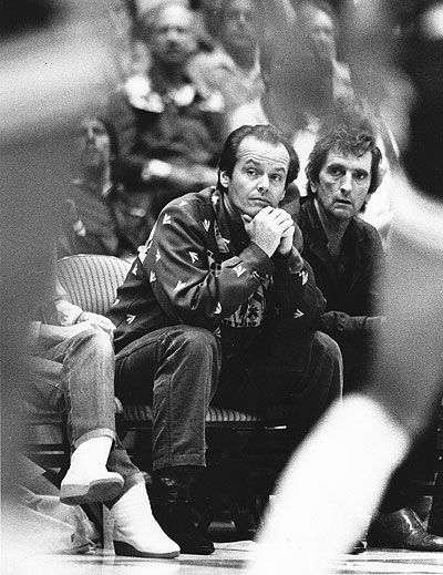Jack Nicholson at the Lakers games through the years.